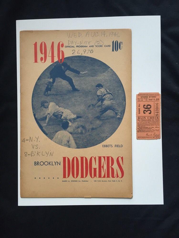 Brooklyn Dodgers Ebbets Field Program ticket & Boxscore Aug 14 1946 Vs Giants