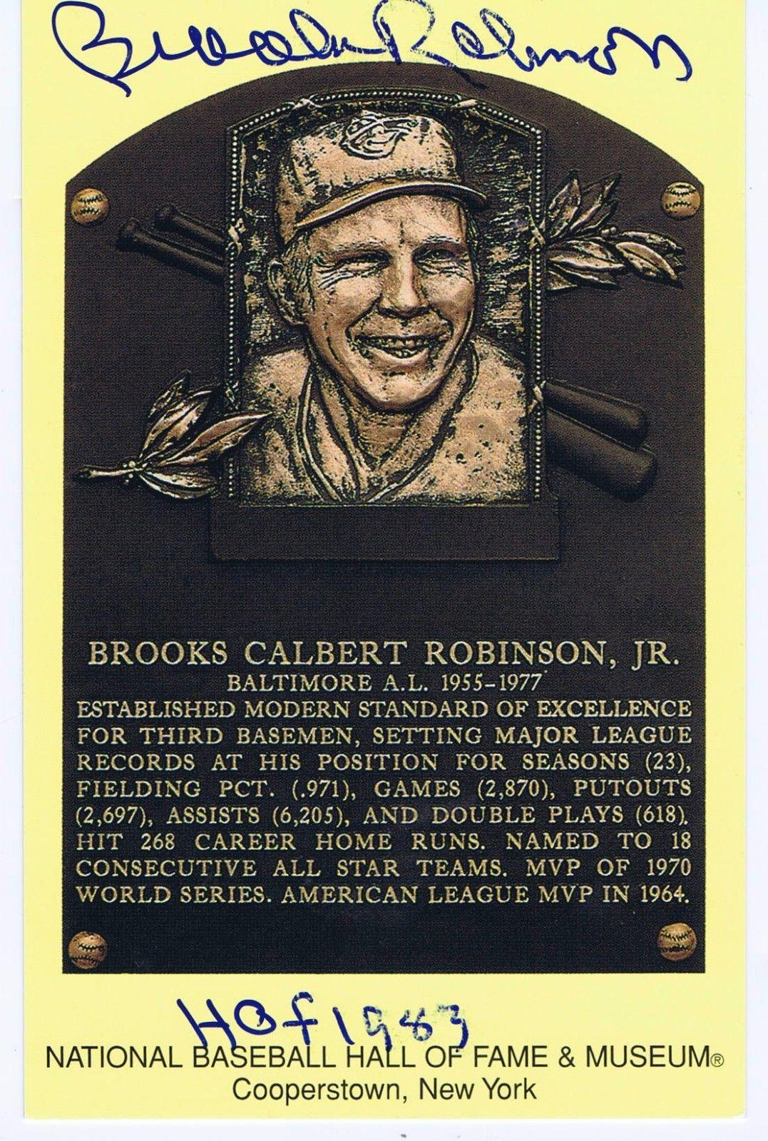 Brooks Robinson Double Signed HOF Yellow Postcard Plaque Ins HOF 1983 Auto COA