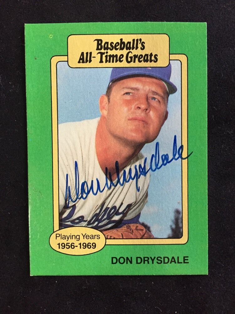 Don Drysdale Signed Baseball Card All Time Greats Dodgers Jsa mint Auto Coa  Hof