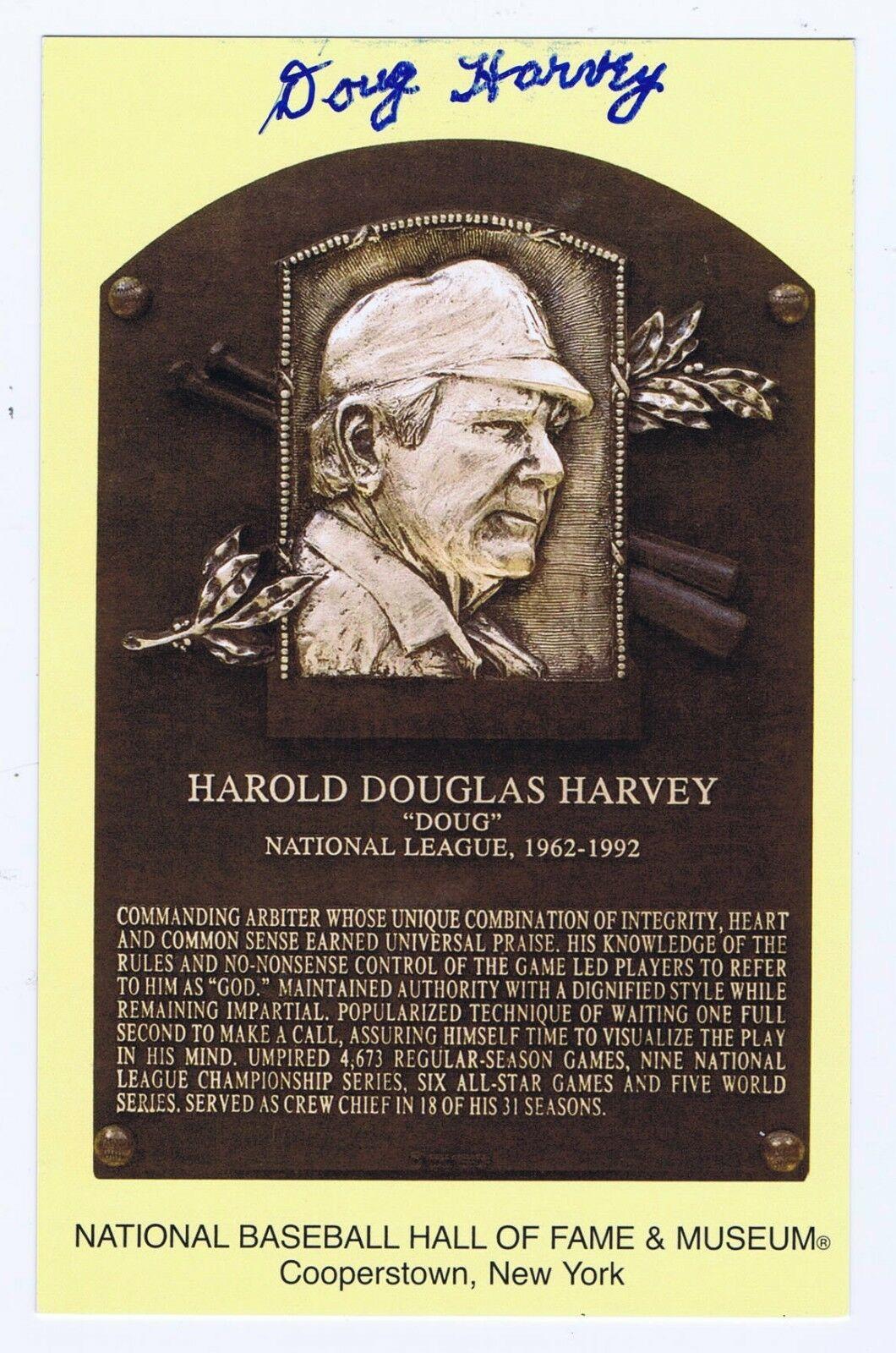 Doug Harvey Signed Hall Of Fame Yellow Postcard Plaque HOF Umpire Auto CBM COA