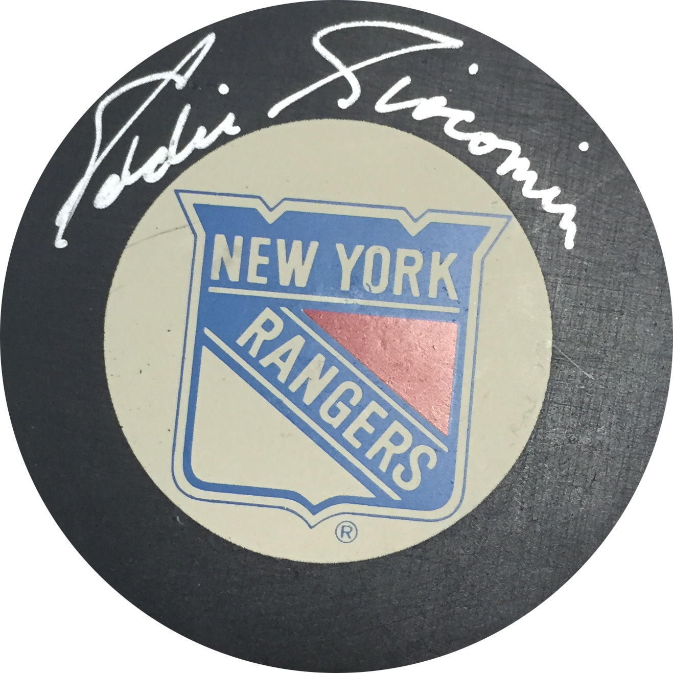 Eddie Giacomin Signed New York Rangers Puck BOLD Autograph HOF goalie cbm COA
