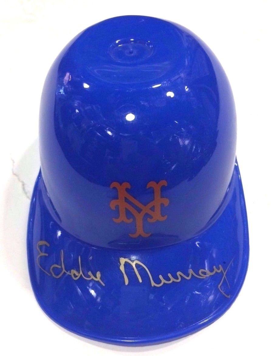 Eddie Murray Signed NY Mets Mini Helmet Gold Vintage Auto Orioles JSA COA