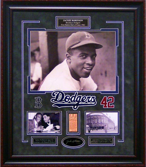 Jackie Robinson 1st Game 1947 Brooklyn Dodgers Framed Photo & Replica Ticket