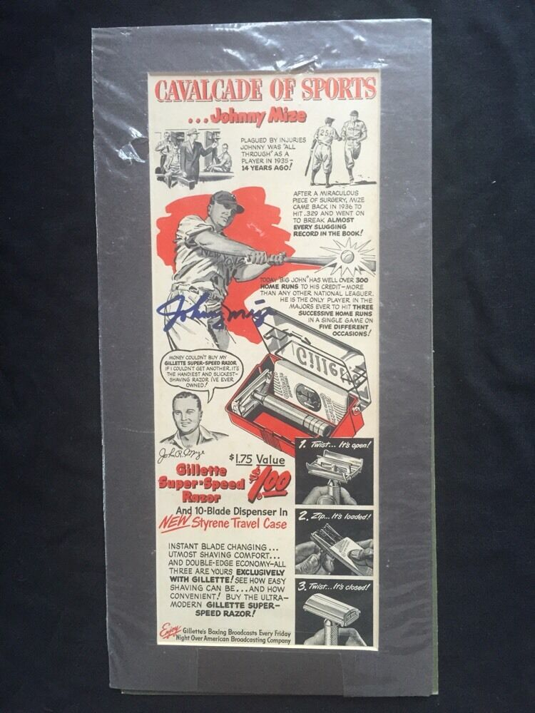 Johnny Mize Gillette Razor Magazine Original Ad Signed Mint Auto Matted Cbm Coa