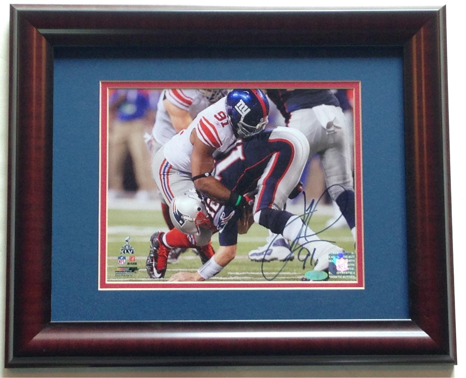 Justin Tuck NY Giants signed 8×10 photo framed SB 46 Tom Brady sack auto Steiner