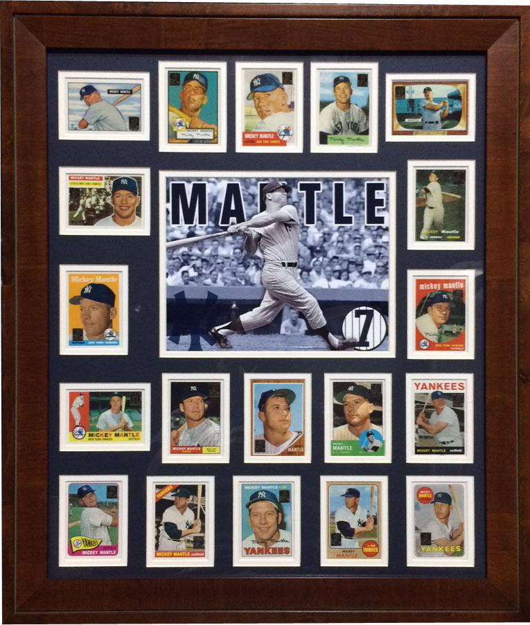 Mickey Mantle Topps replica baseball cards 1951-1969 framed photo 1952 RC 24×28