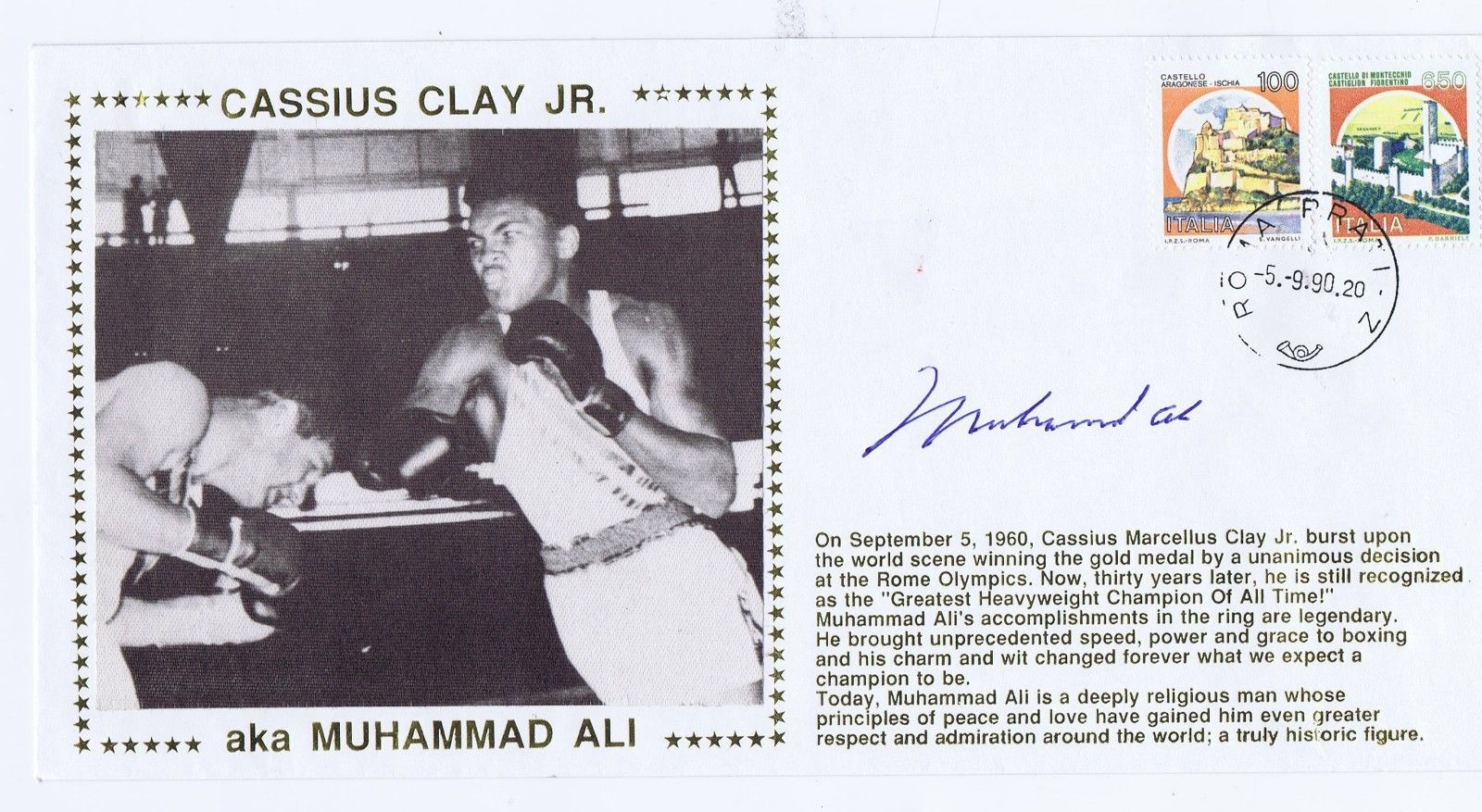 Muhammad Ali Signed Envelope Card 5-9-90 Cassius Clay AUTO Goldin PSA  DNA COA