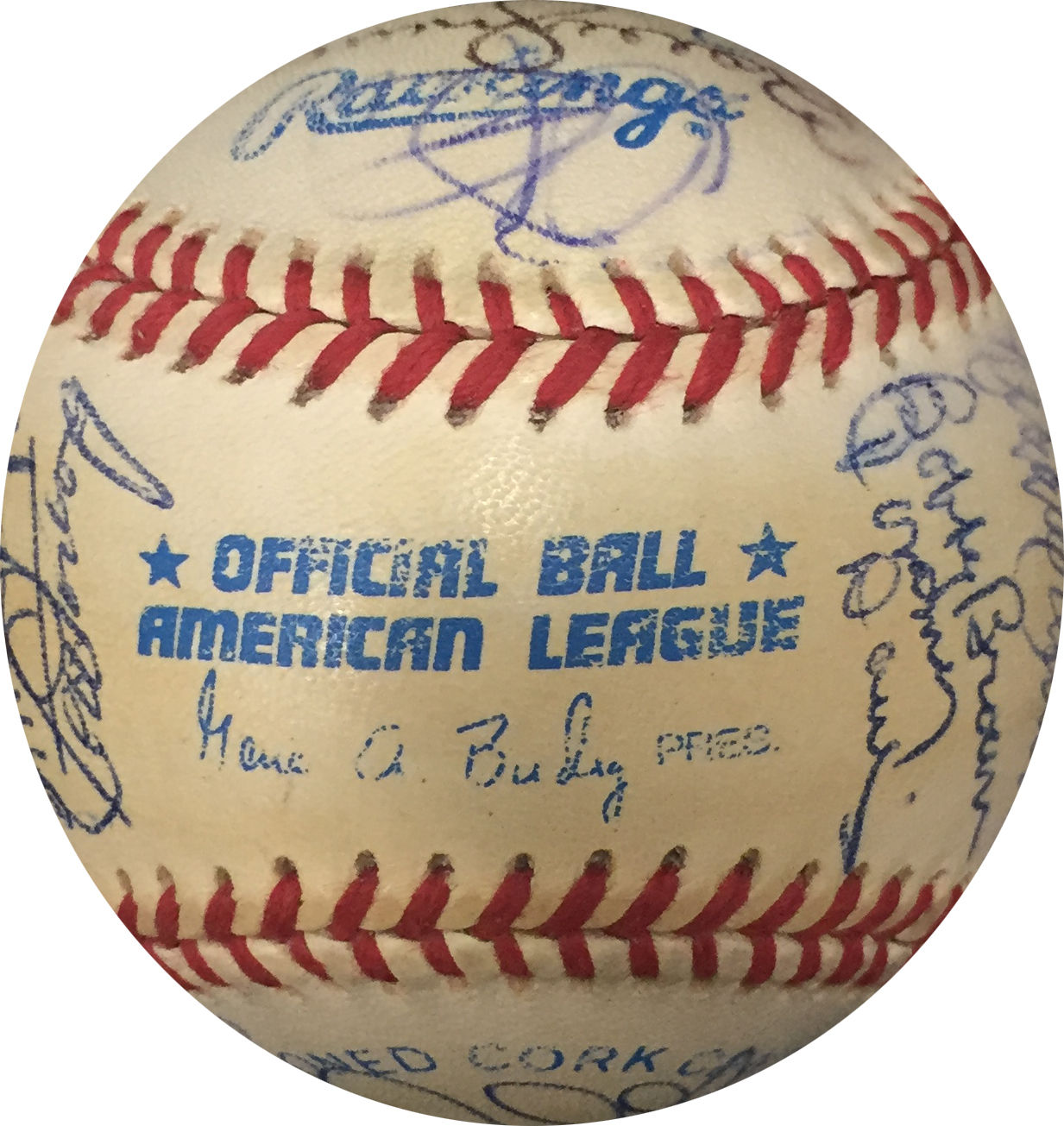 Multi Signed Official American League Baseball with 28 Autos Murcer Jenkins COA