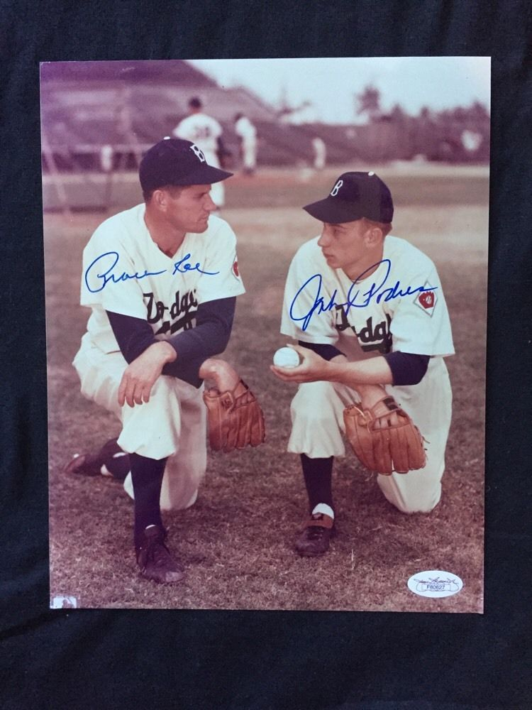 Preacher Roe & Johnny Podres Signed Brooklyn Dodgers 1955 Ws Auto 8×10 Photo Jsa