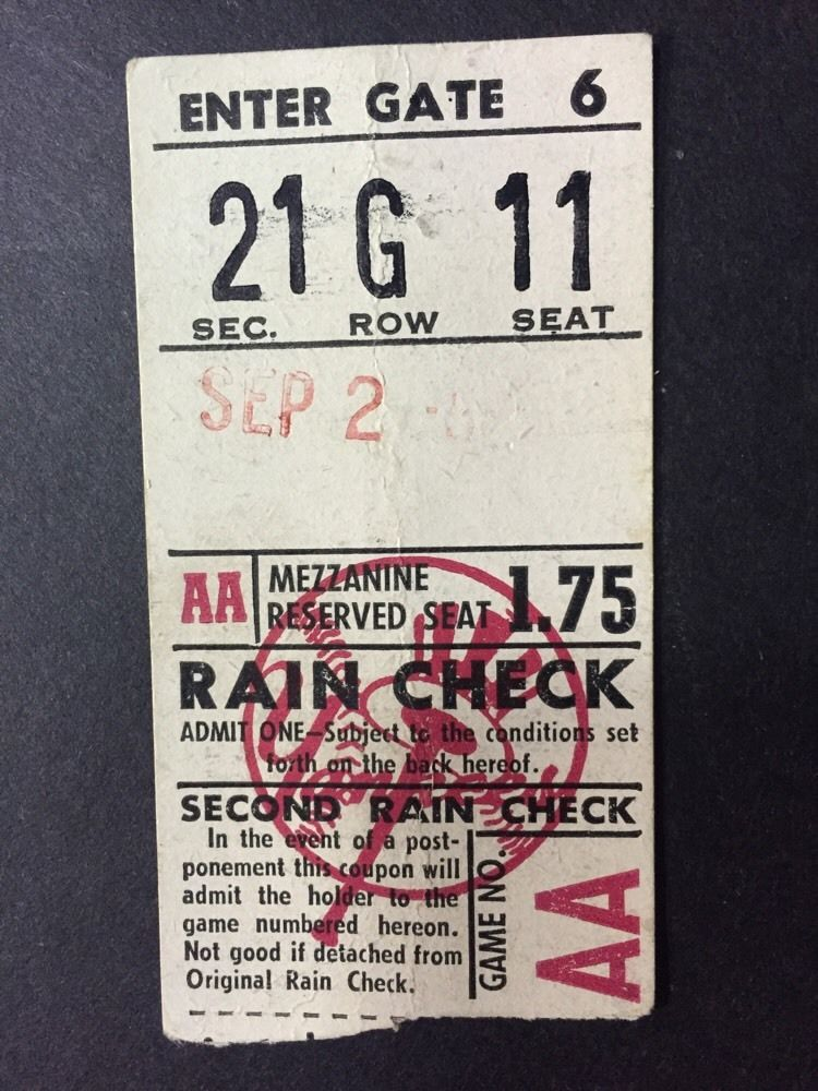 Sept 2 1952 Yankee Stadium Ticket Stub Mickey Mantle Hit 2 Rbi Ny Yankees Rare
