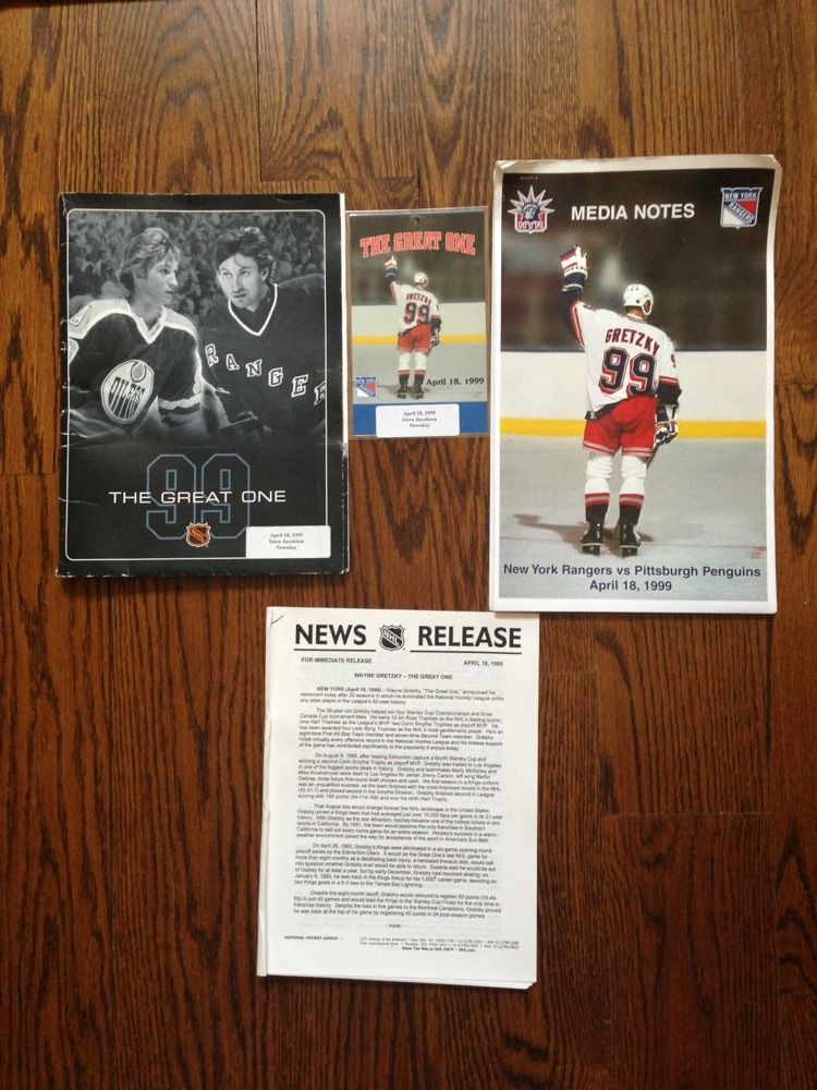 Wayne Gretzky The Great One Final Game 1999 Press Pass Ticket Media Notes packet