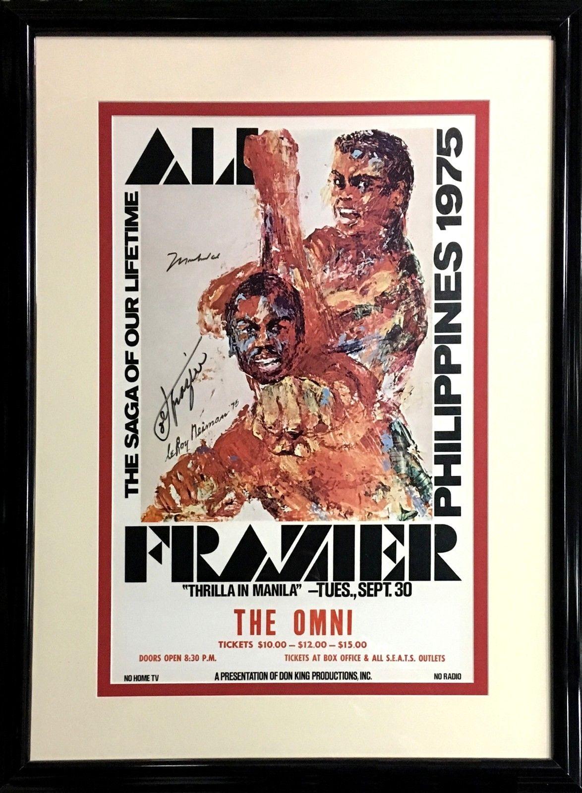 Muhammad Ali Joe Frazier Signed Leroy Neiman Manila fight poster 2 auto COA