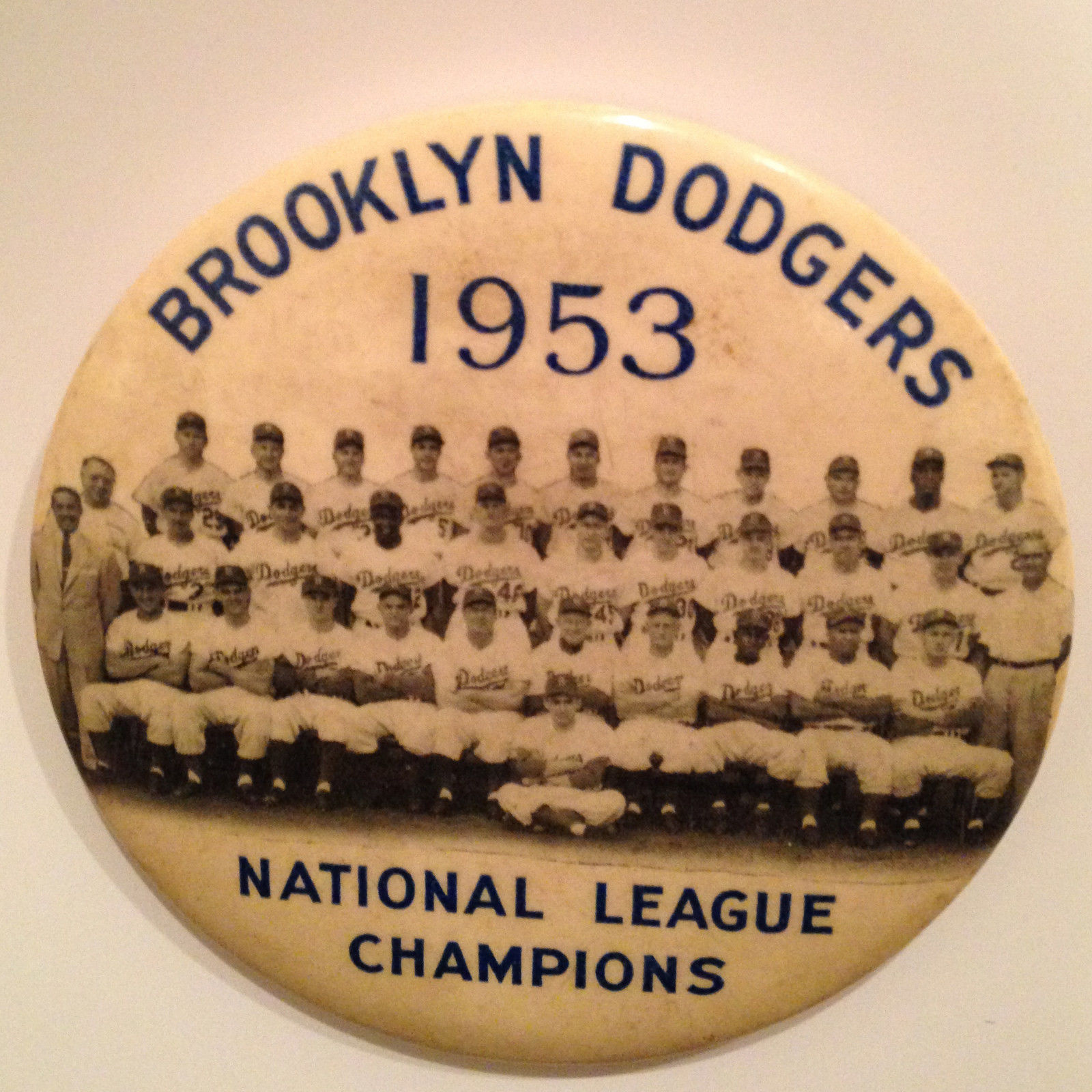 1953 Brooklyn Dodgers NL Champions team VINTAGE 4″ Pin button JACKIE  ROBINSON