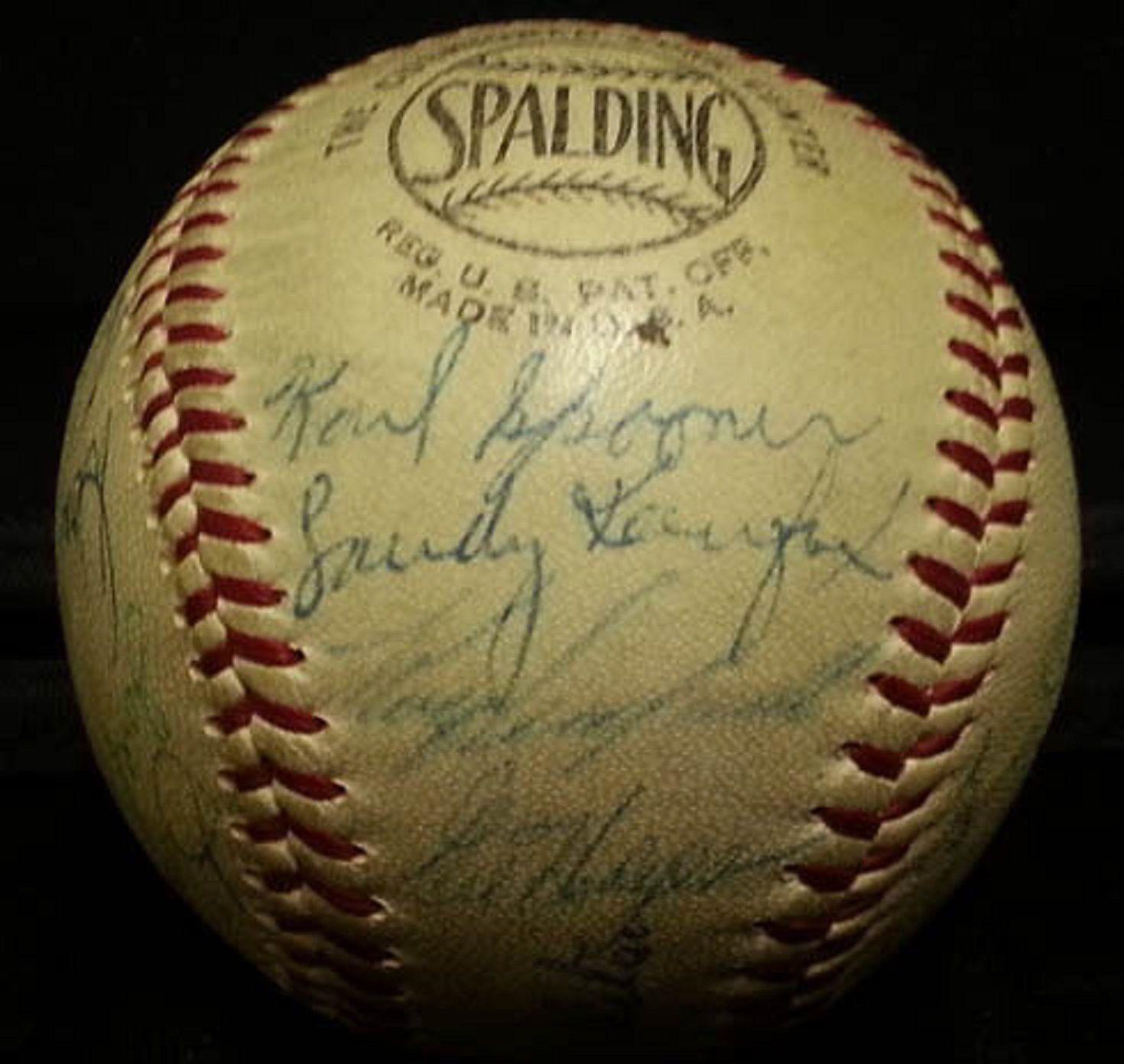 1957 Brooklyn Dodgers Team Signed NL Baseball 25 Auto KOUFAX Campanella JSA COA