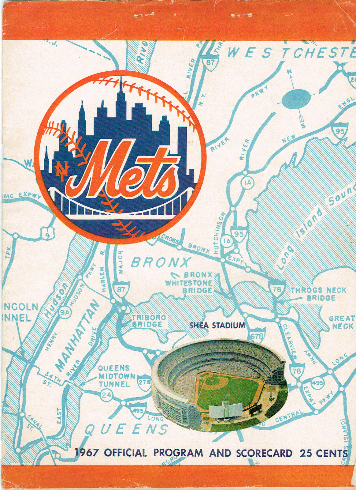 1967 New York Mets Original Program and Ticket Stub