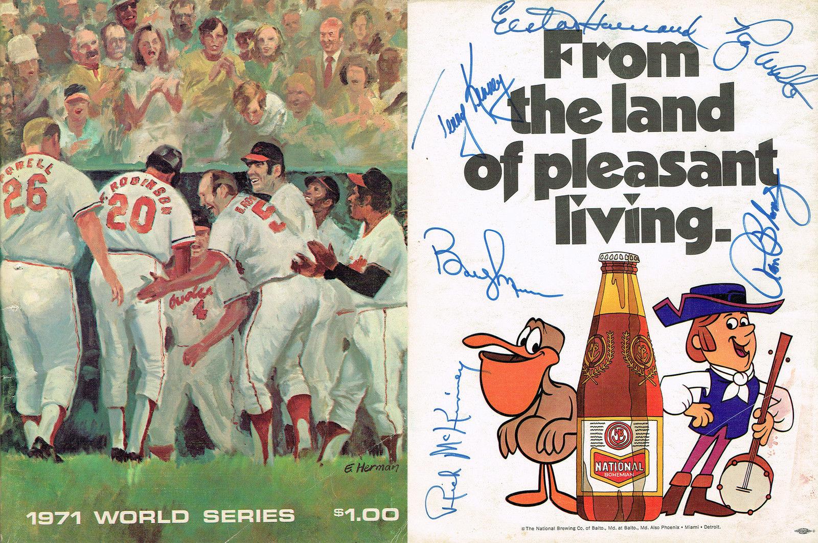 1971 World Series Program Signed Weaver Bobby Murcer Yankees auto Elston Howard