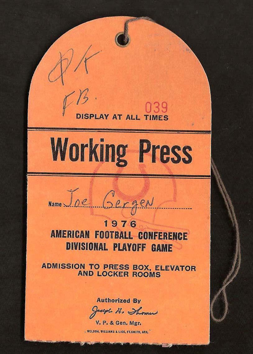 1976 AFC Playoffs Steelers Media Press Pass RARE