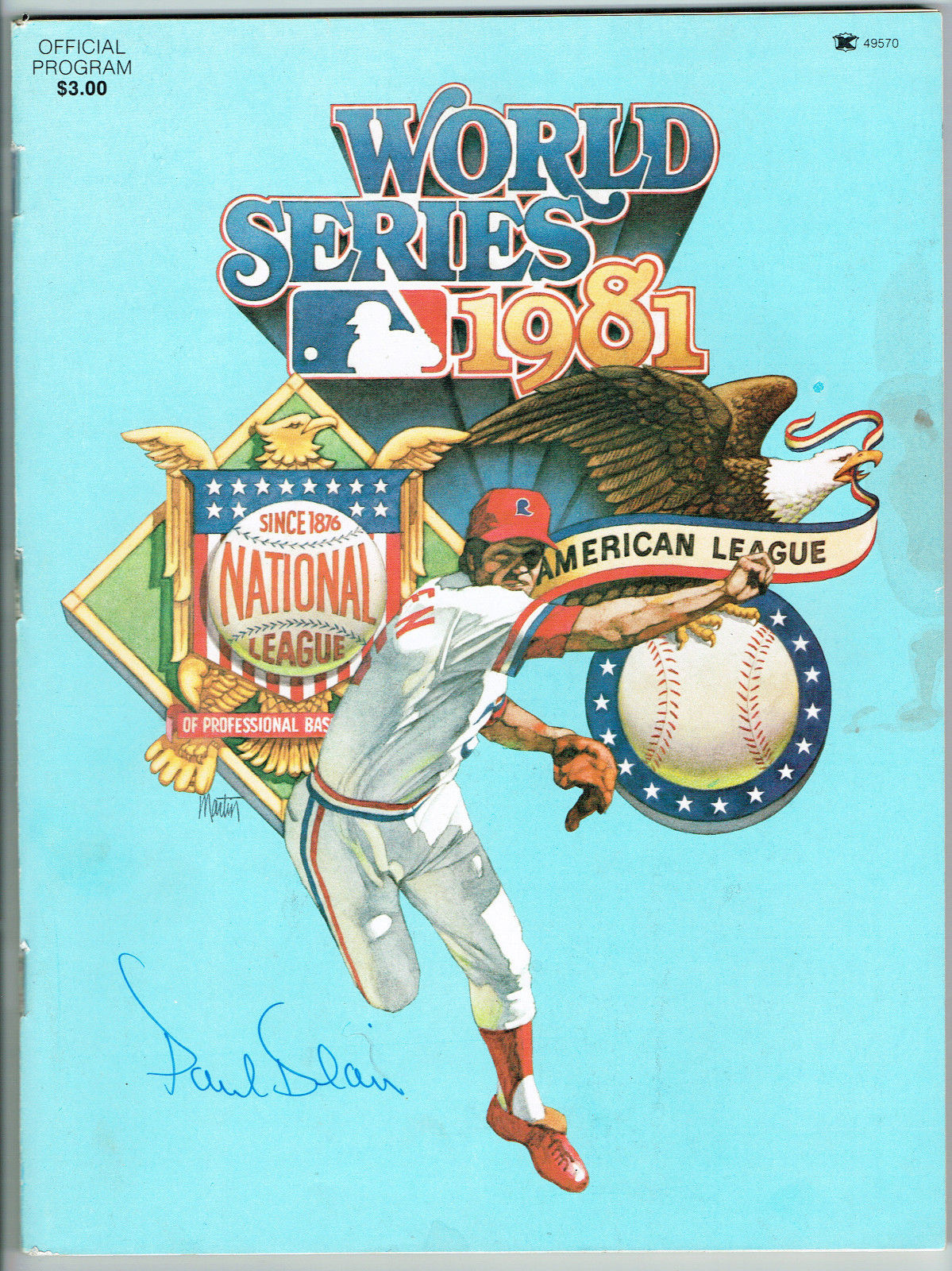 1981 World Series Program Signed by Paul Blair Auto COA