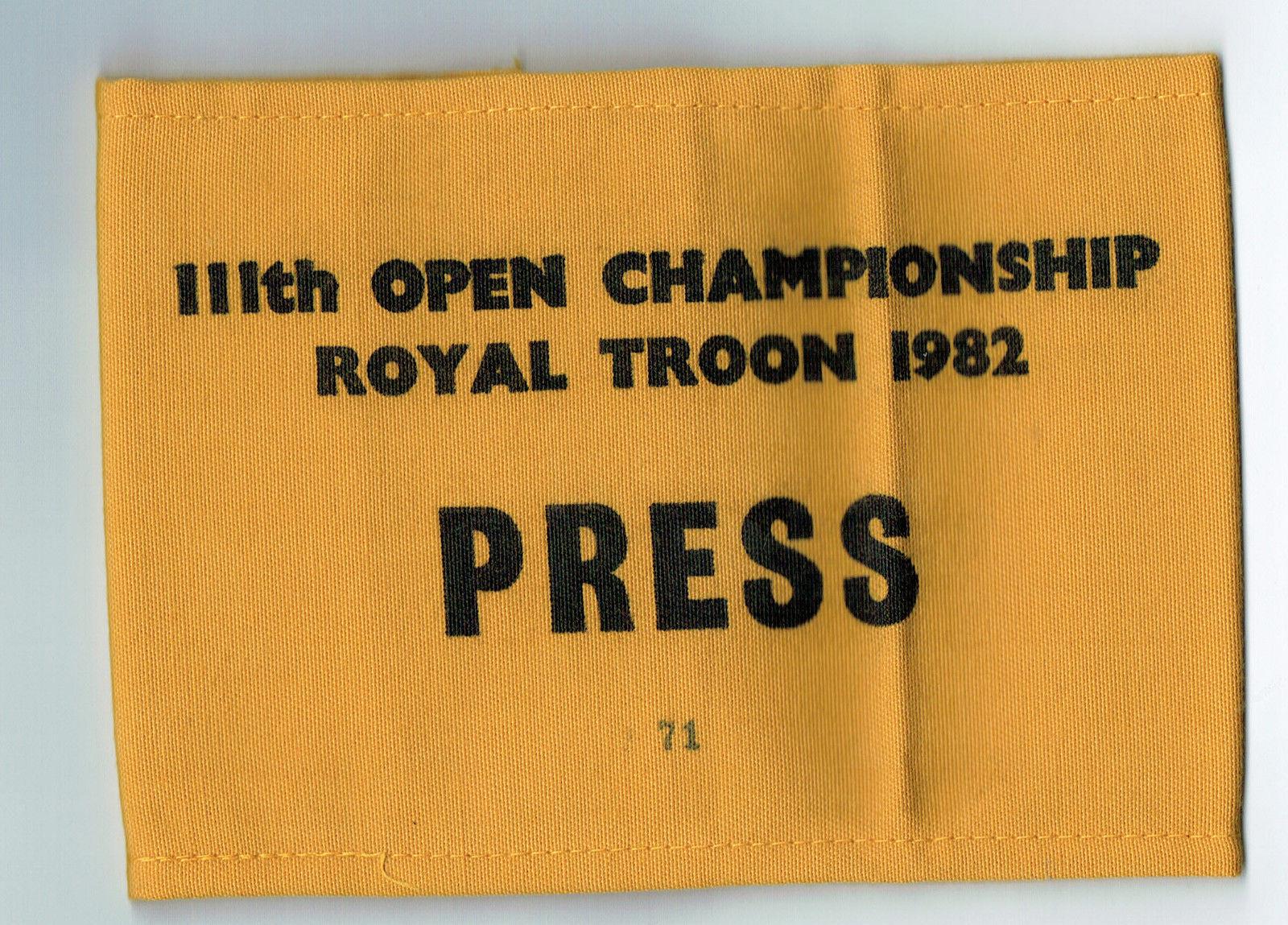 1982 111th Open Championship Royal Troon Golf 15×5 Tom Watson Press Pass