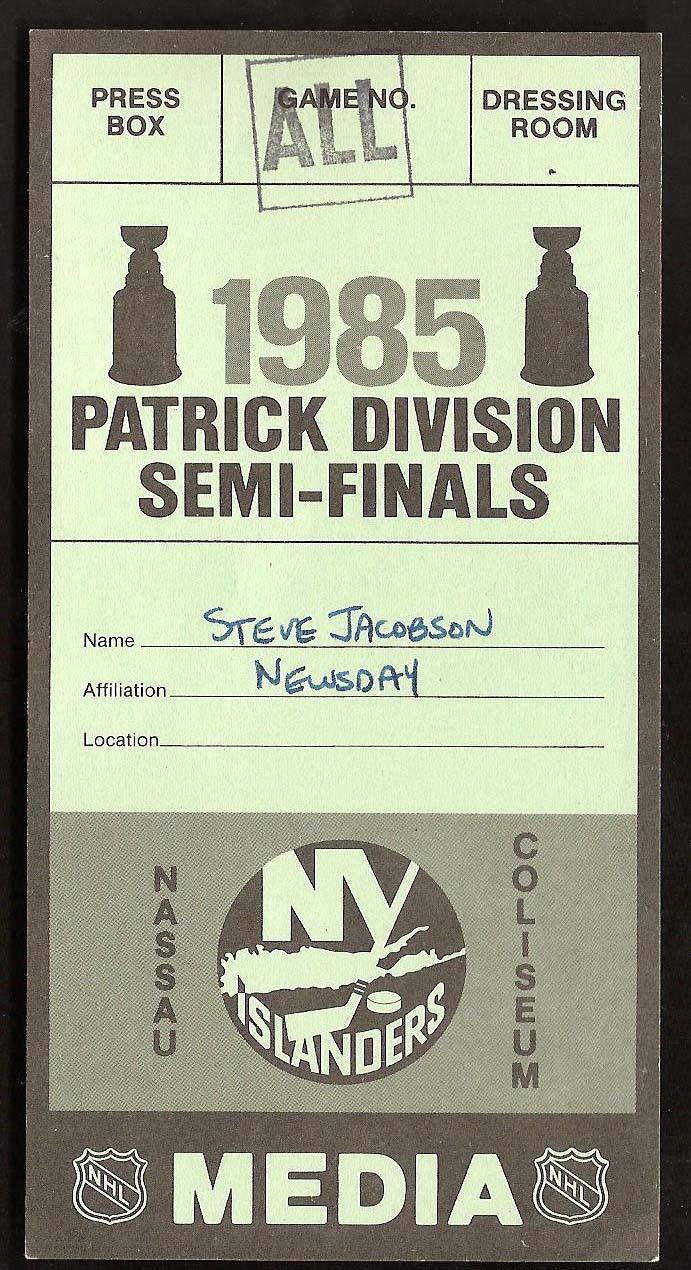 1985 New York Islanders Media Press Pass Ticket RARE Steve Jacobson Newsday MINT