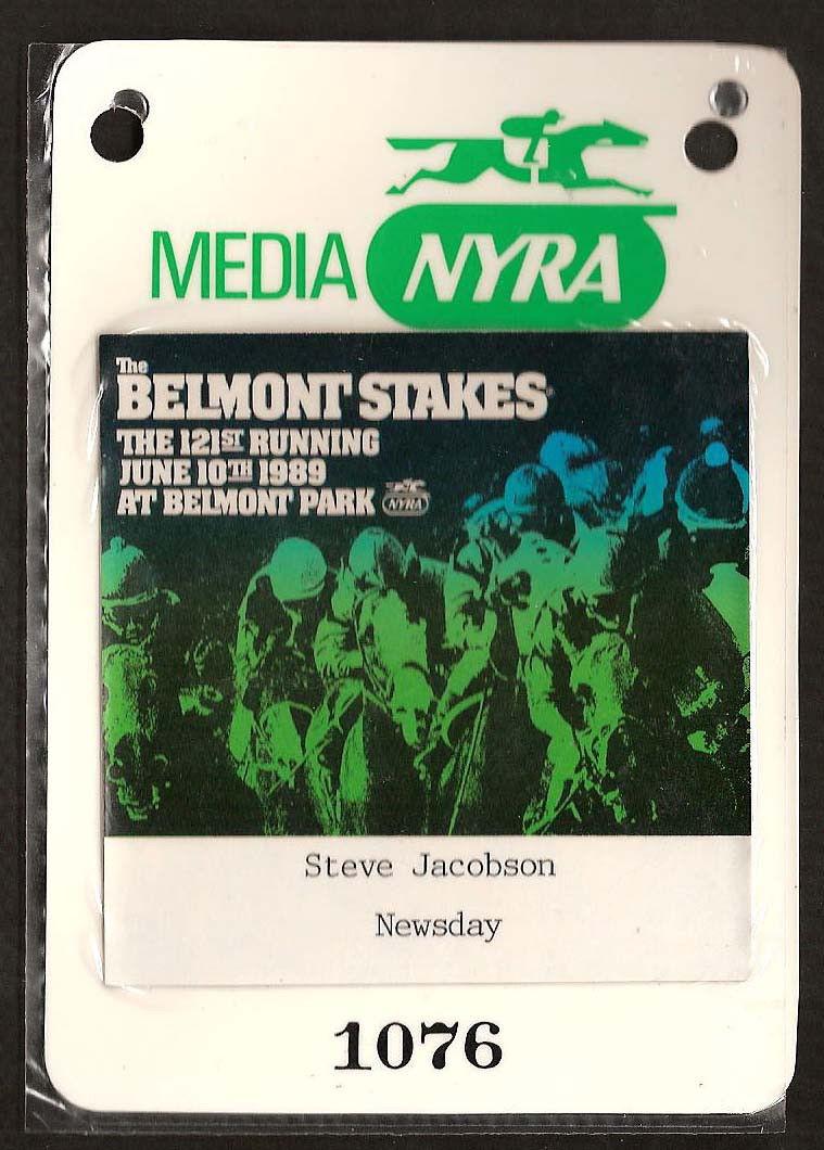 1989 Belmont Stakes Media Press Pass Ticket Steve Jacobson Newsday RARE MINT