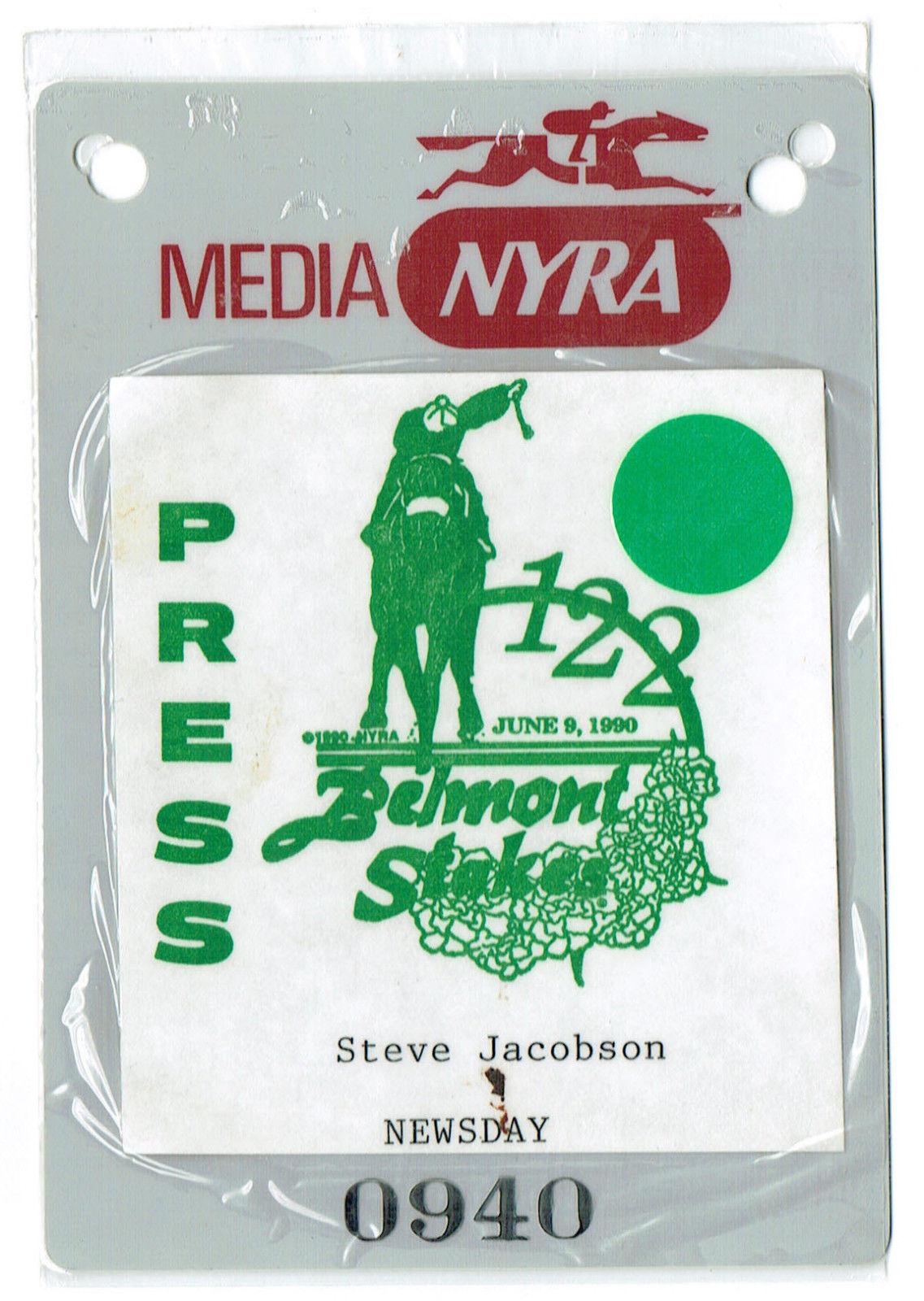1990 Belmont Stakes Press Pass ticket media Jacobson Newsday nyra mint Horse