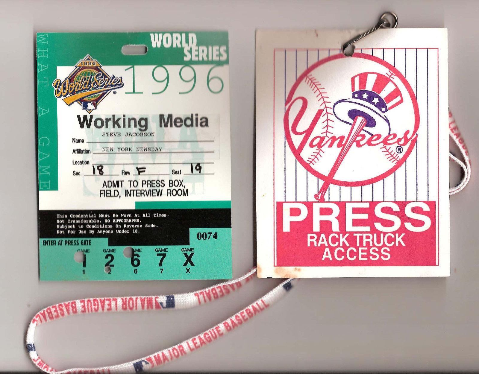 1996 World Series Yankees Media Press Pass + Truck Access Steve Jacobson Newsday