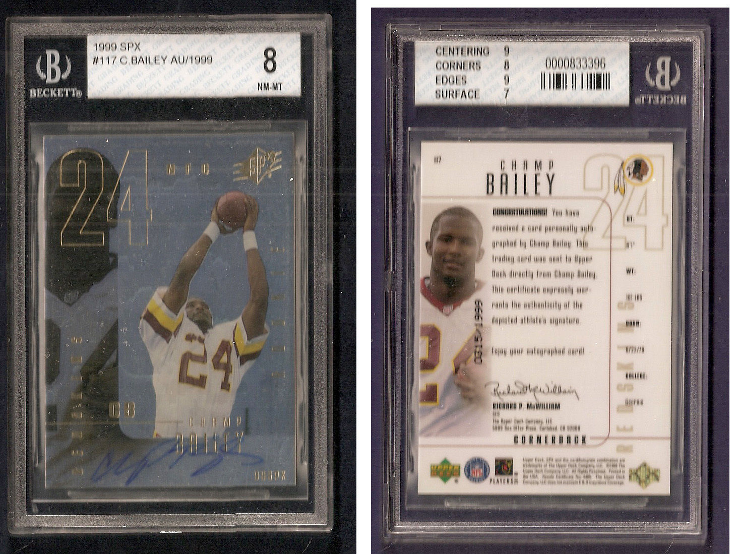 1999 SPX Champ Bailey Rookie Signed Auto Beckett 8 NM-MT