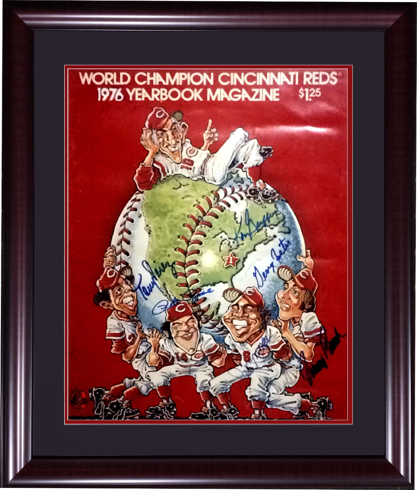 Big Red Machine Reds signed 1976 WS yearbook photo framed 6 auto Rose Bench COA