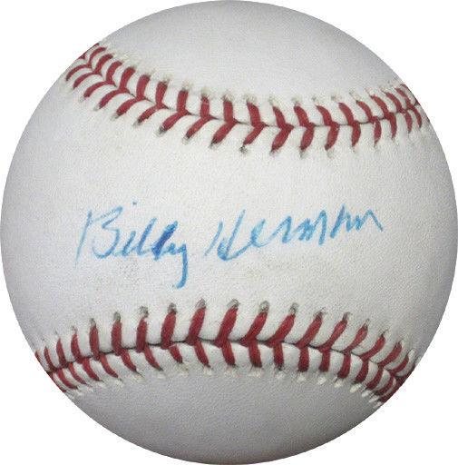 Billy Herman Signed ONL Giamatti Baseball Brooklyn Dodgers hof  Auto cbm COA
