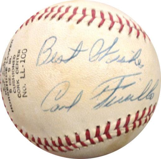 Carl Furillo Signed baseball Inscribed Best Wishes Brooklyn Dodgers JSA coa 1955