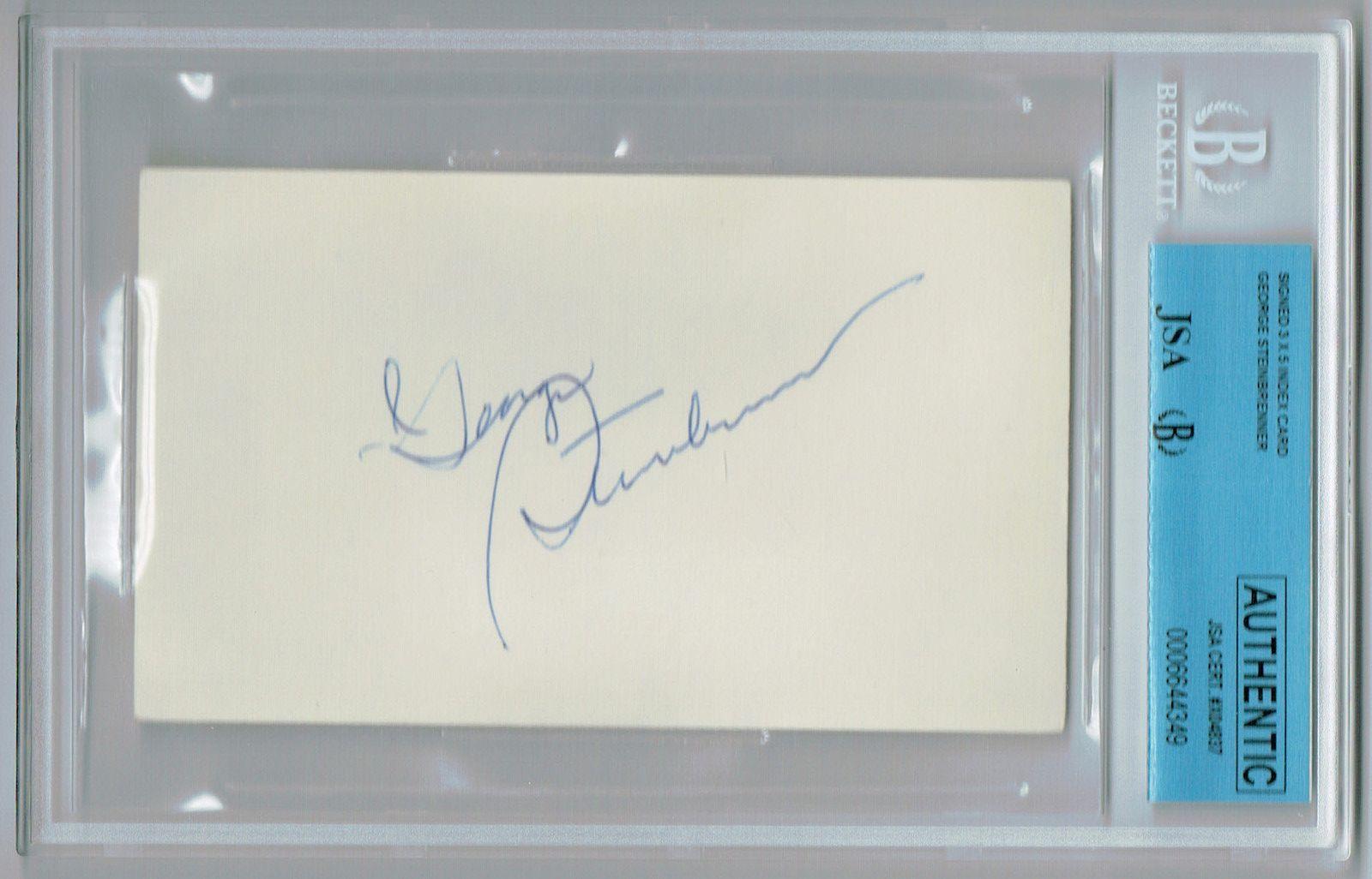 George Steinbrenner Signed 3×5 Index Card JSA BECKETT mint bold auto Yankees