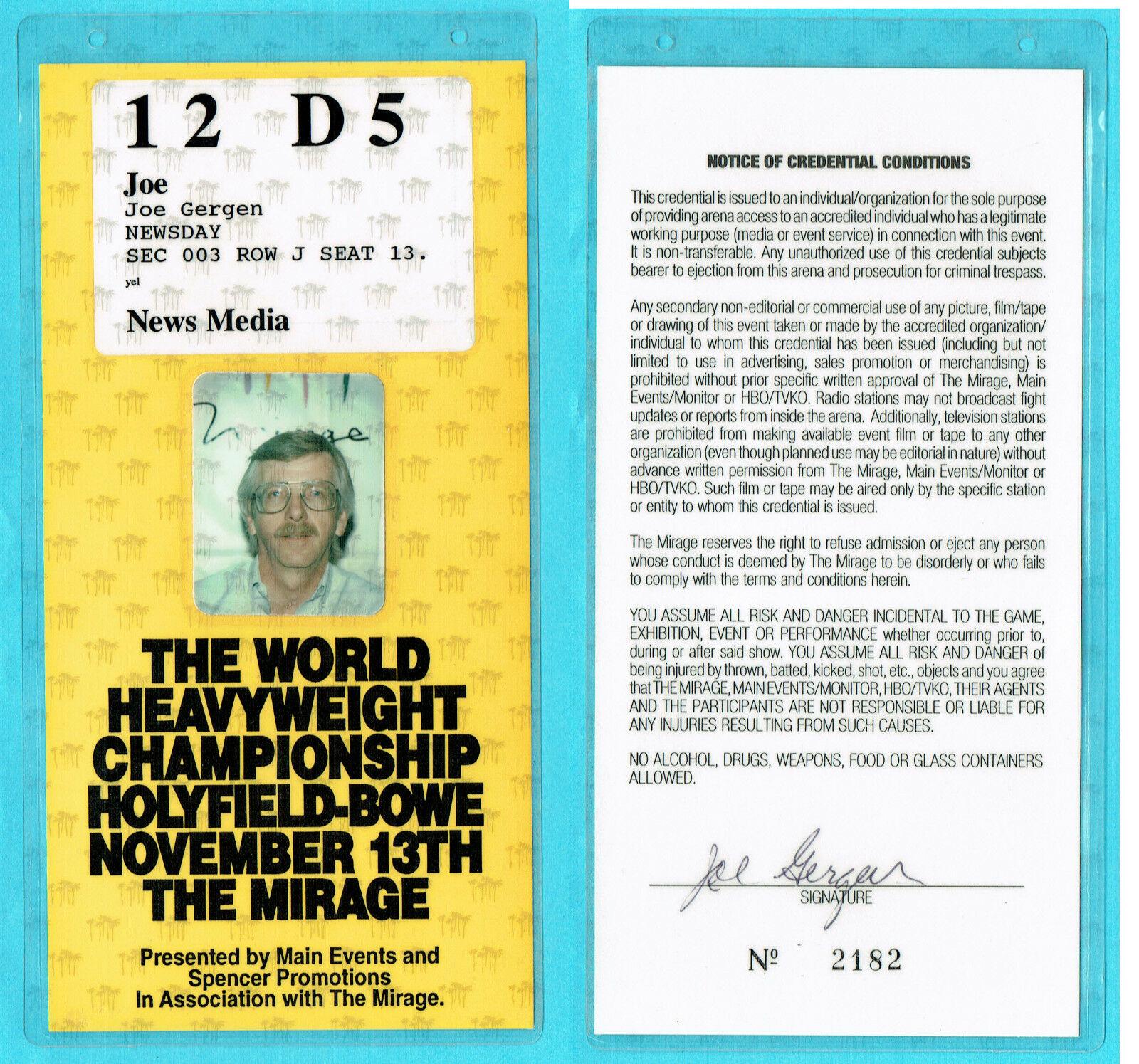 Heavyweight Championship Evander Holyfield / Bowe Media Press Pass ticket mint
