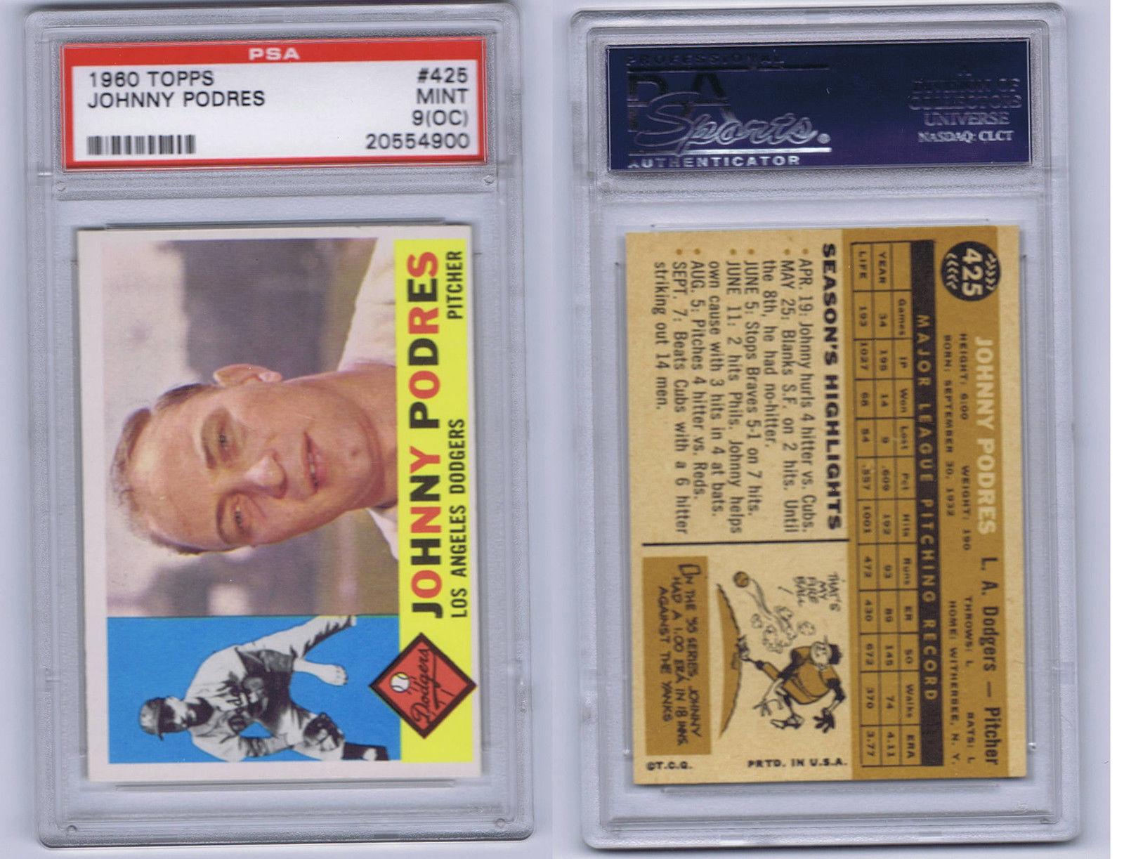 Johnny Podres 1960 Topps baseball #425 Dodgers PSA 9 Mint o/c world series mvp