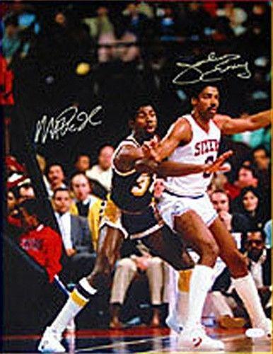 Julius Erving & Magic Johnson Signed 16×20 Photo PSA/DNA Framed Matted Auto COA