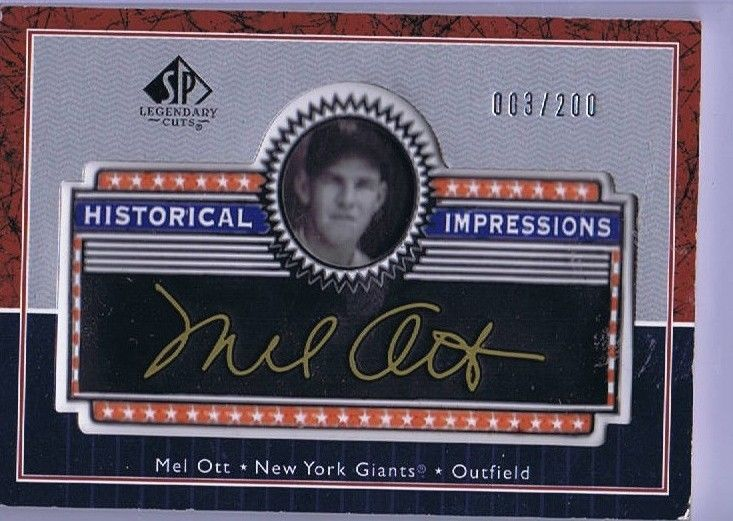 Mell Ott Historical Impressions #3/200 Thick Card Legendary Cuts 2003 Upperdeck