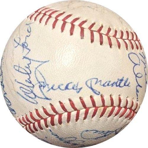 Mickey Mantle Joe DiMaggio Signed 24 Auto All Star Hof Cronin Baseball PSA Coa