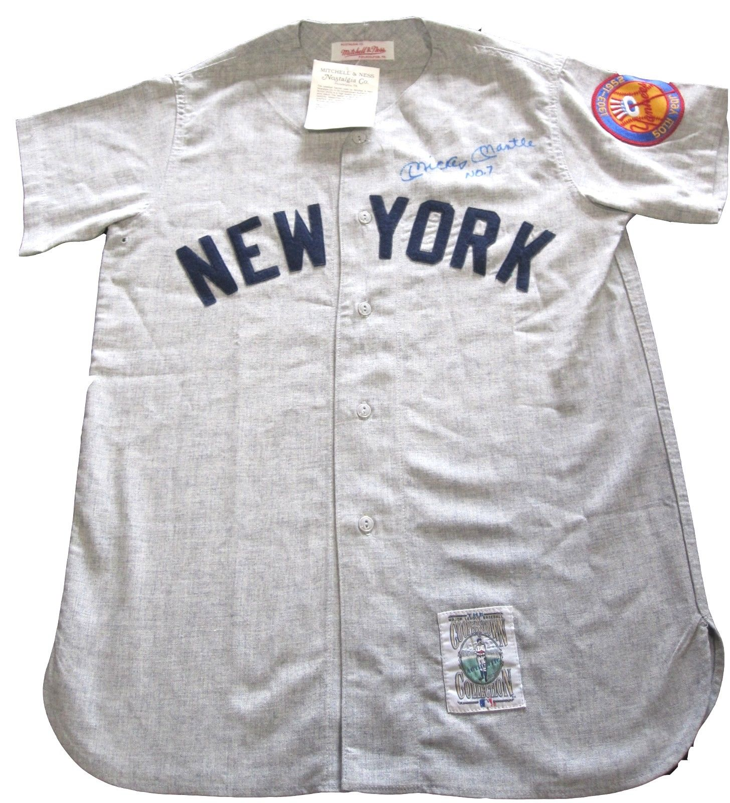 """Mickey Mantle Signed Mitchell & Ness Jersey Yankees """"No. 7"""" Inscribed  PSA/DNA"""