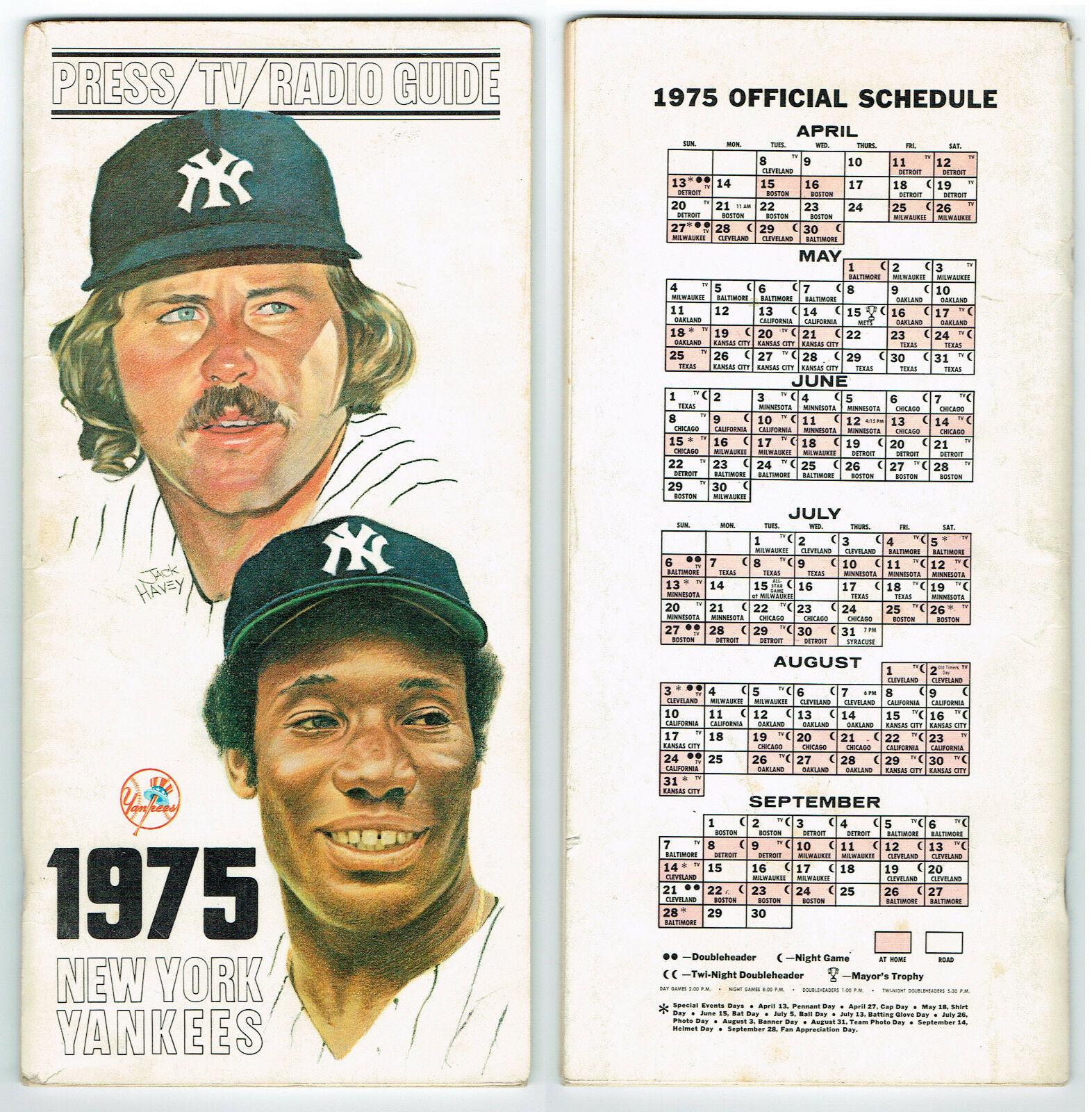Official 1975 New York Yankees Media Guide  RARE Catfish Hunter Bobby Bonds