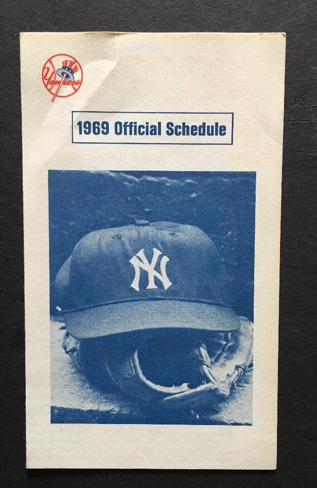 1969 New York YANKEES Official SCHEDULE Yankee Stadium MICKEY Mantle Day