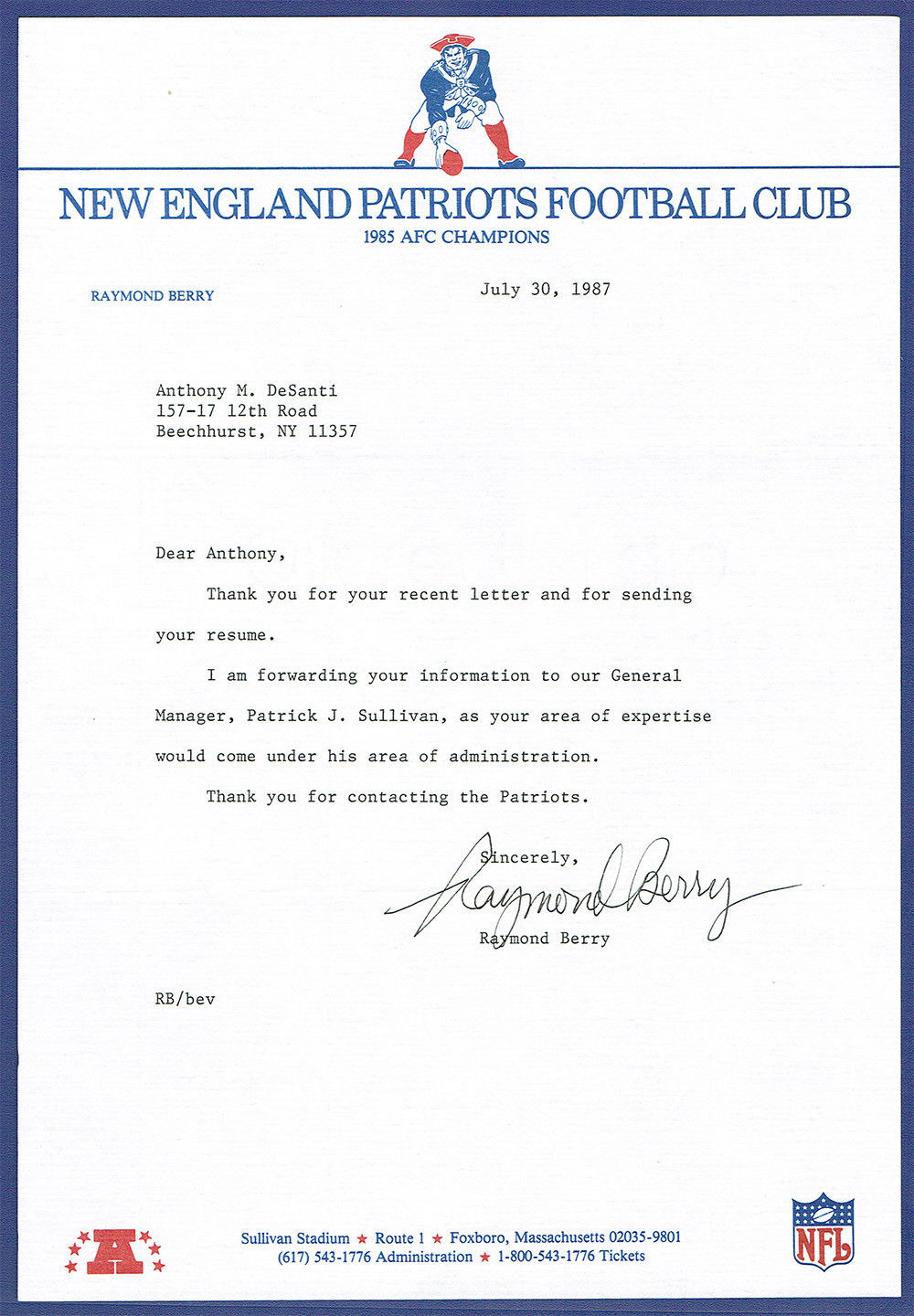 Raymond Berry Signed Auto New England Patriots Original Letter RARE