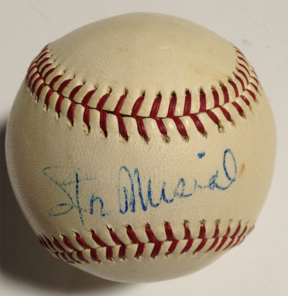 Stan Musial single signed Official nl giles vintage baseball 1963 PSA autograph