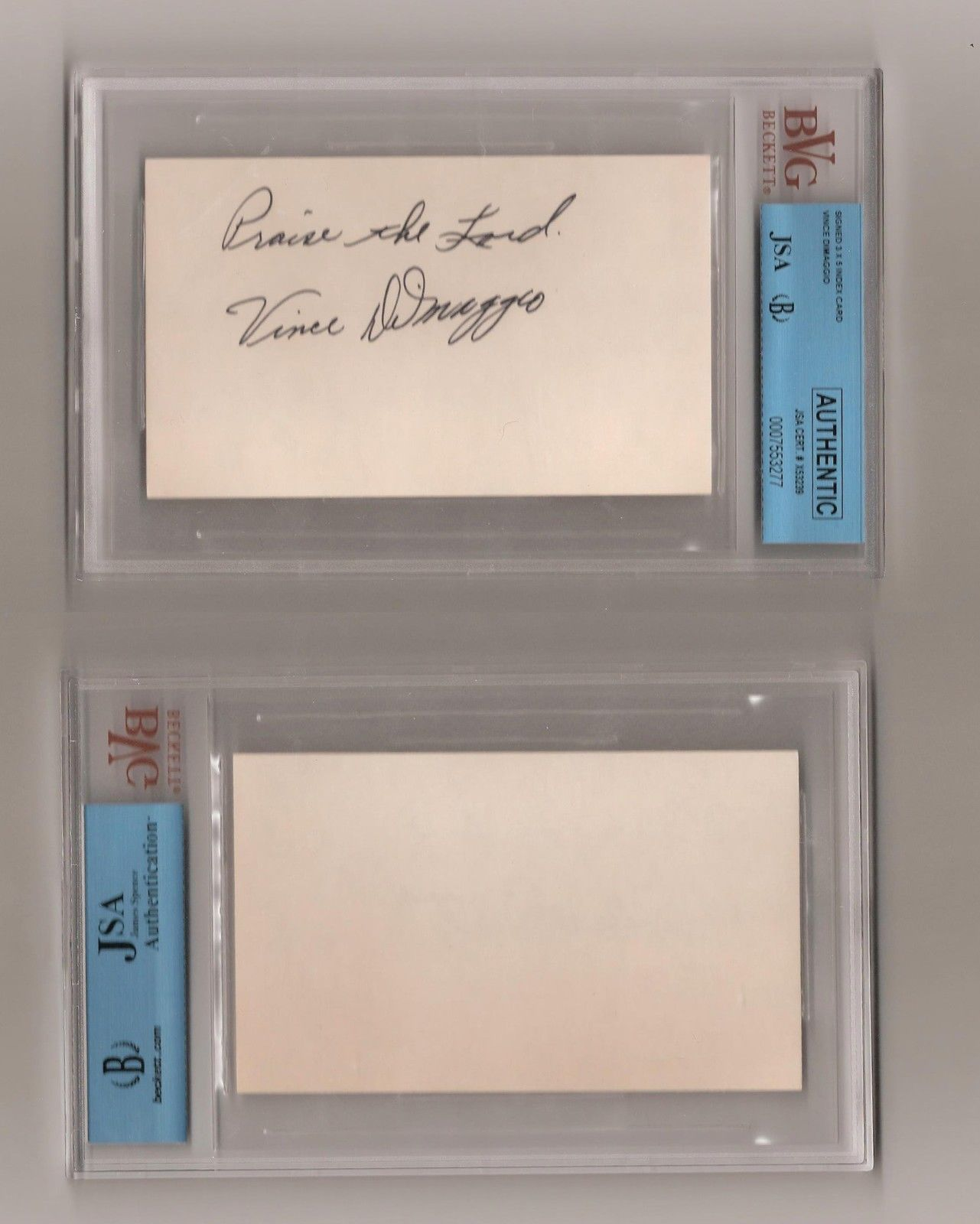 Vince Dimaggio signed 3×5 index card Beckett JSA COA BOLD praise the lord AUTO