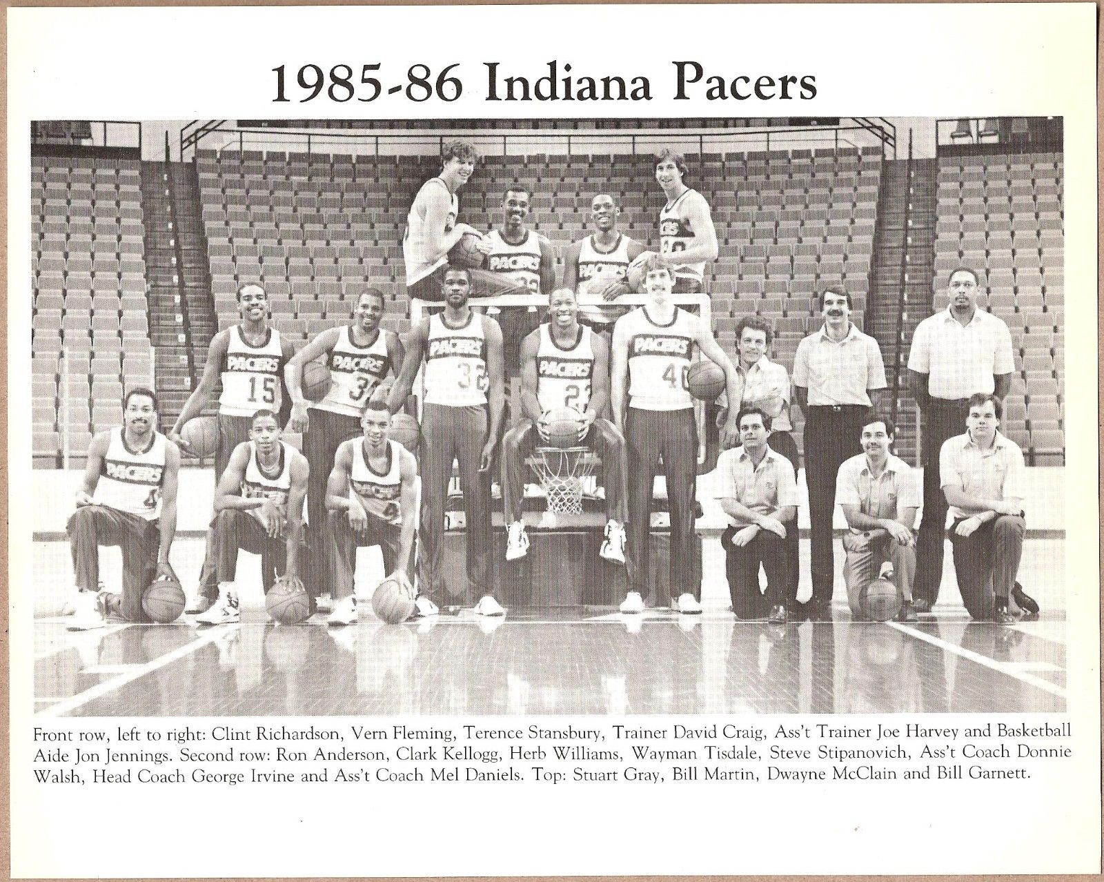 1985-1986 Indiana Pacers Original Team Black and White Press Photo RARE