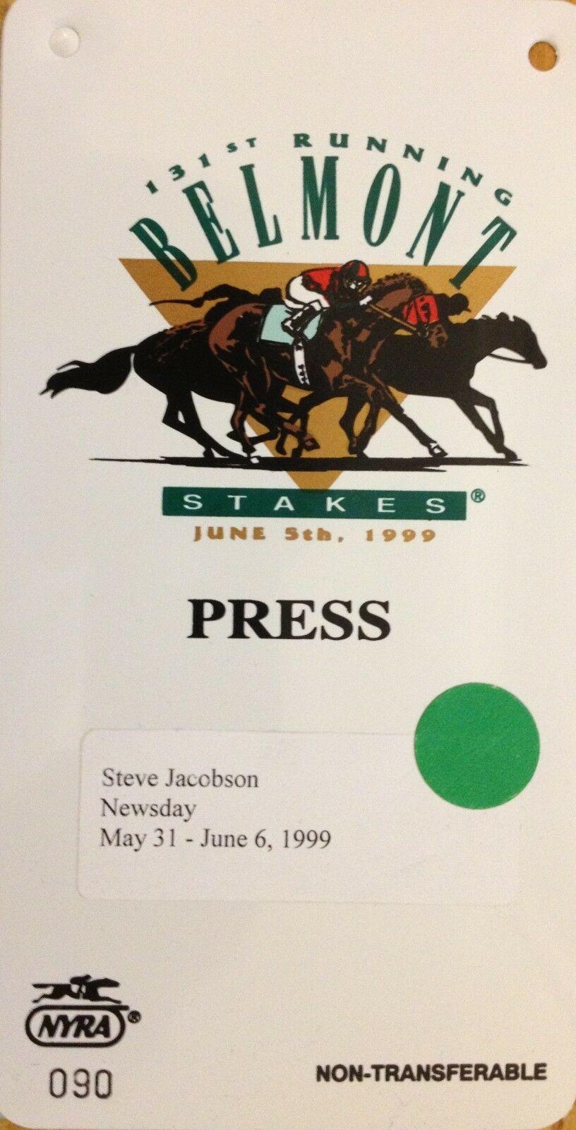 Belmont Stakes june 5 1999  Press Pass media  ticket Newsday NYRA Lemon Drop Kid