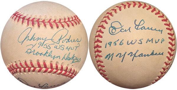 Don Larsen & Johnny Podres Signed Inscribed World Series MVP Baseball Auto COA