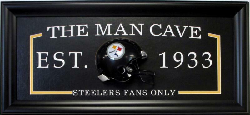 STEELERS FANS ONLY Man Cave Sign framed w/ 3D football  Mini Helmet 27×13