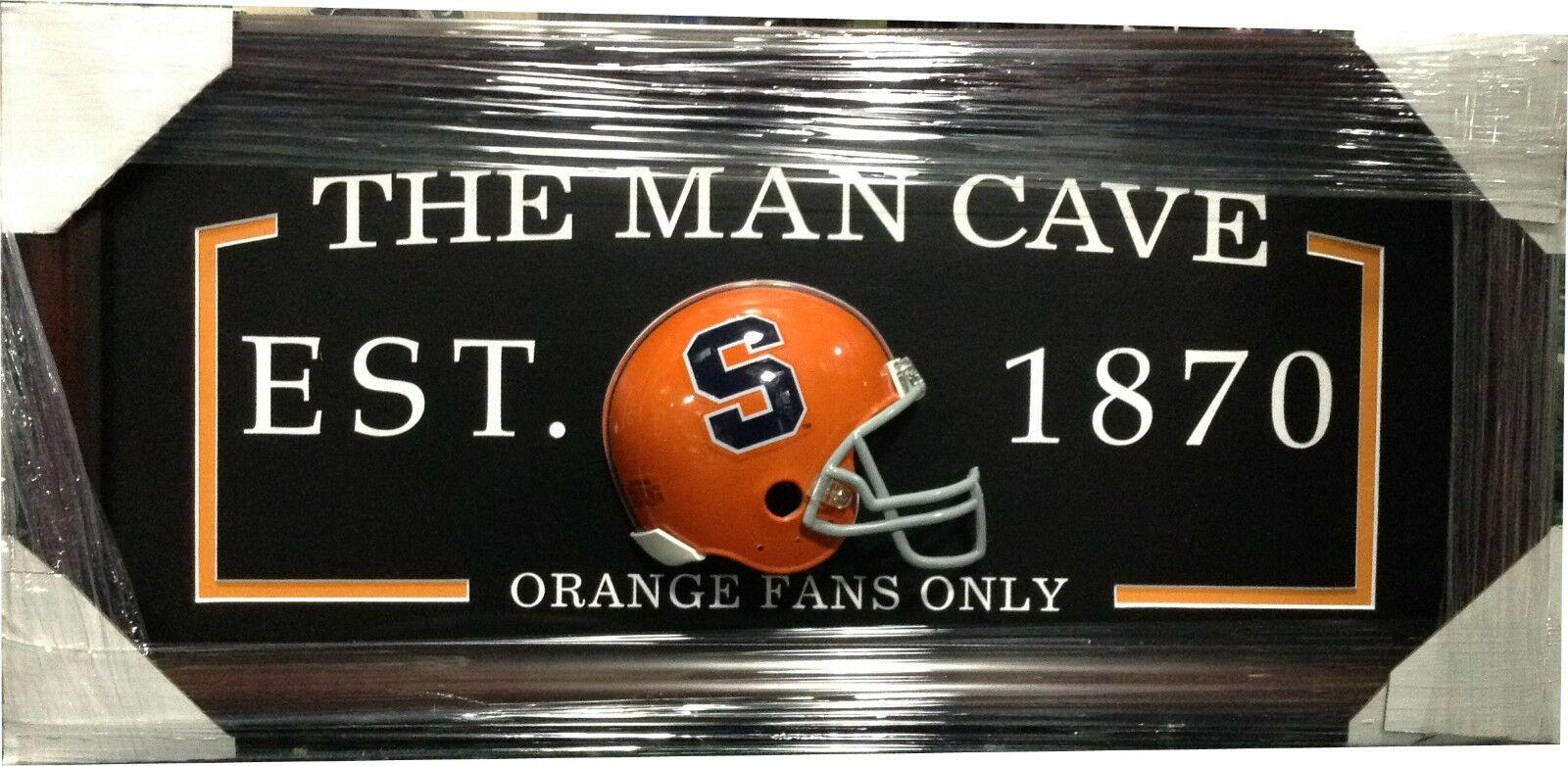 Syracuse Orange FANS ONLY Man Cave Sign Framed 3D Football Mini Helmet 27×13