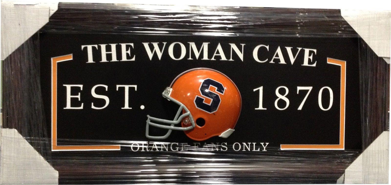 Syracuse Orange FANS ONLY Woman Cave Sign Framed 3D Football Mini Helmet 27×13
