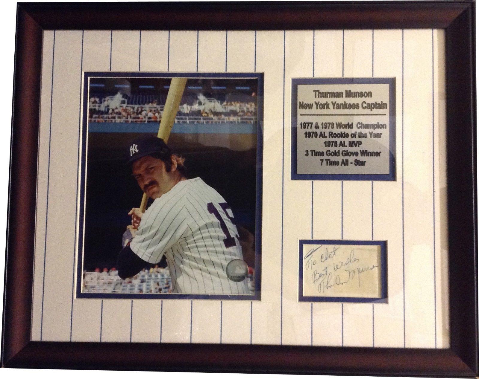 Thurman Munson NY Yankees Captain Cut Signature Framed w/ Photo & Plaque PSA DNA